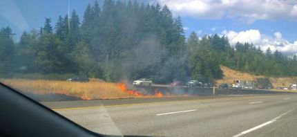 Fire burns in the I-90 median near Snoqualmie, 7/12/15. Photo: Rachel Harris