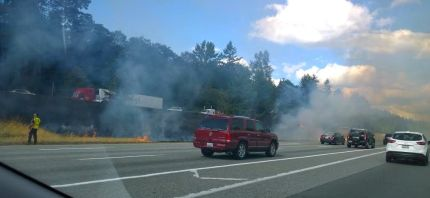 Fire in the I-90 median between milepost 25 and 27 near Snoqualmie. Photo: Rachel Harris