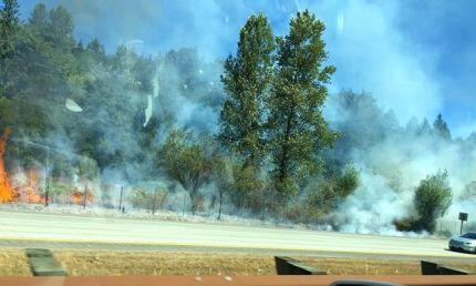 7/31/15. Fire in I-90 median near Preston. Photo: Erica Marcoux