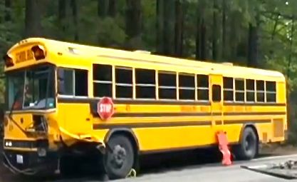 SVSD school bus at North Bend accident scene, 9/21/2015