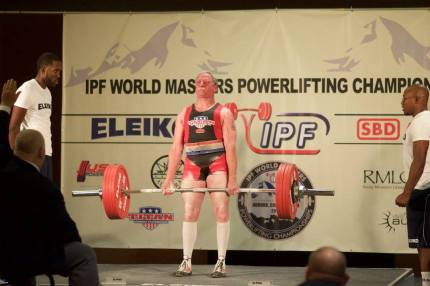 Tepper deadlifting at International Masters Powerlifting Championships in September 2015