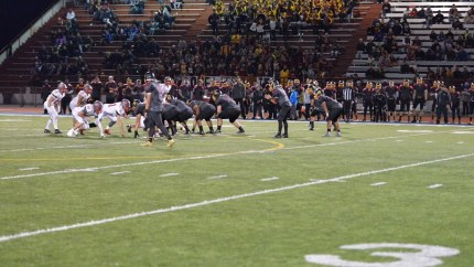 MSHS vs. Thomas Jefferson HS, Friday, 11/6/15. MSHS won first 4A playoff game, 17-14