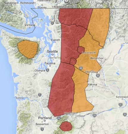 Avalanche warning map for Sunday, January 17th.  Photo: Northwest Avalanche Center