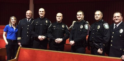 Officer Chad Ridout (3rd from left) at his Police Academy Graduation, with Chief McCulley and other members of the Snoqualmie Police Department.