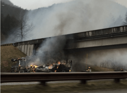Charred RV on I-90 east of North Bend, 2/11/16. Photo: WSDOT twitter