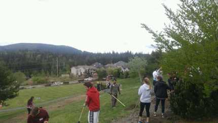 MSHS NHS members working at Ironwood Park in early April. Photo: Baly Botten