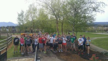 MSHS National Honor Society Members working at Snoqualmie Community Park in early April. Photo: Baly Botten