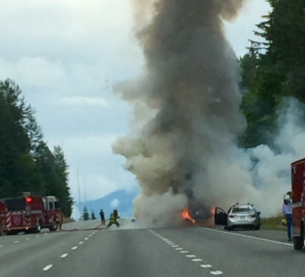 Extinguished car fire on westbound I-90 near SR 18, 7/18/16. Photo: Henry Mitchell.