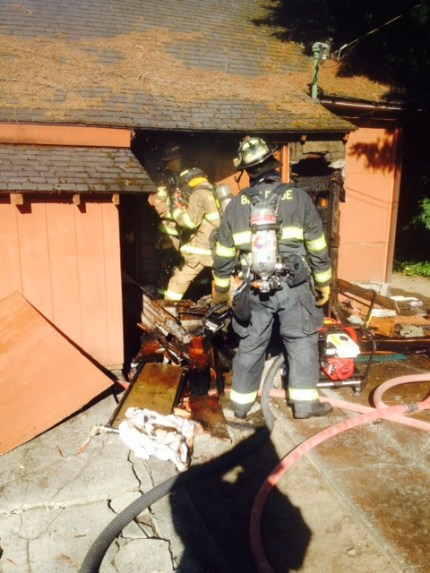 Crews at house fire in downtown Snoqualmie, 7/26/16. Photo: SFD