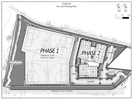 Site plan for the proposed Snoqualmie Valley Athletic Complex along SR 202 near North Bend