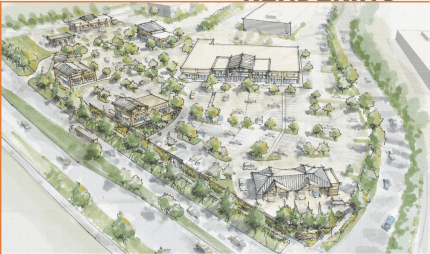 Rendering of Snoqualmie Parkway Plaza retail development from October 2015 presentation