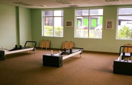 Reformer pilate area at Revitalize PT & Pilates in Snoqualmie. Two more machines were added last week.