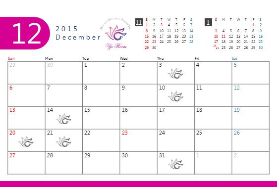 ワイズルーム 12月 カレンダー