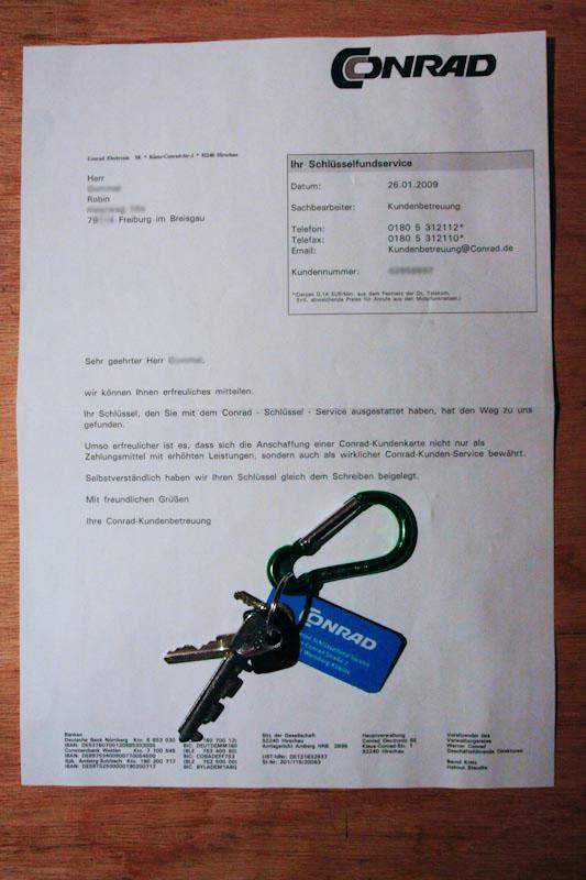 Antwort 1 vom Conrad Schlüsselservice