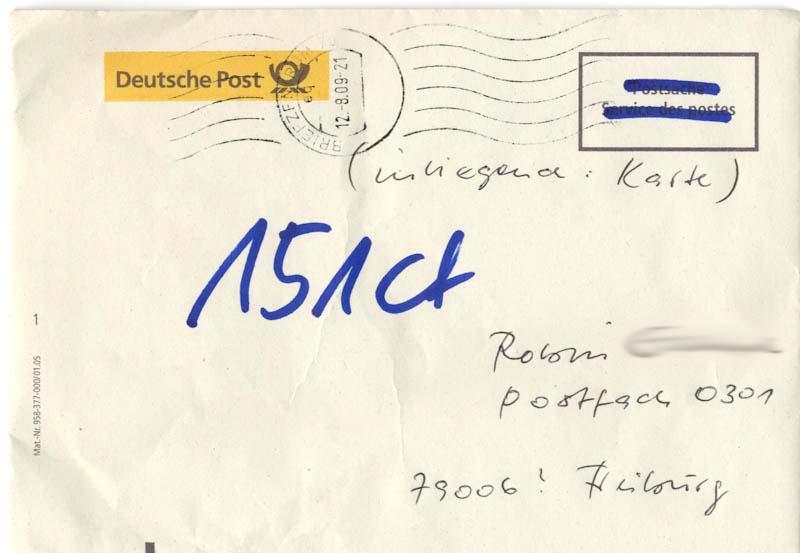 Nachentgeltzahlung Briefumschlag