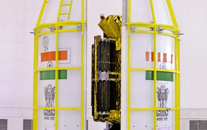 13-gslv-f08heat-shieldisbeingclosedwithgsat-6asatellitesinside