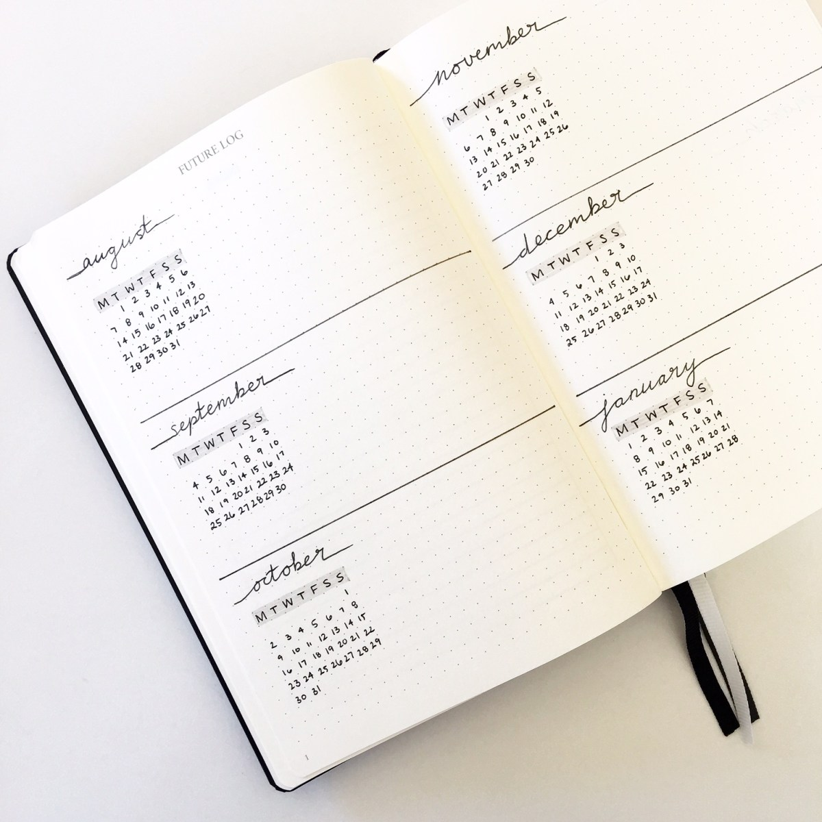 A simple, minimal, bullet journal future log