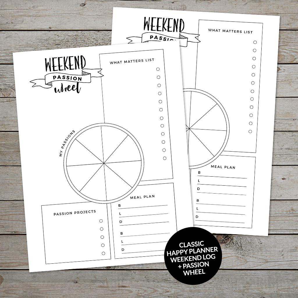 Weekend Planner Worksheet