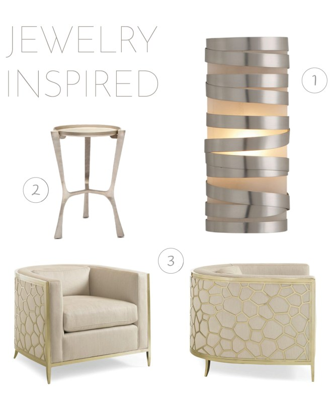 1. Clodagh Primitive Sconce by Visual Comfort | 2. Addison Table by Made Goods | 3. Ice Breaker Chair by Caracole
