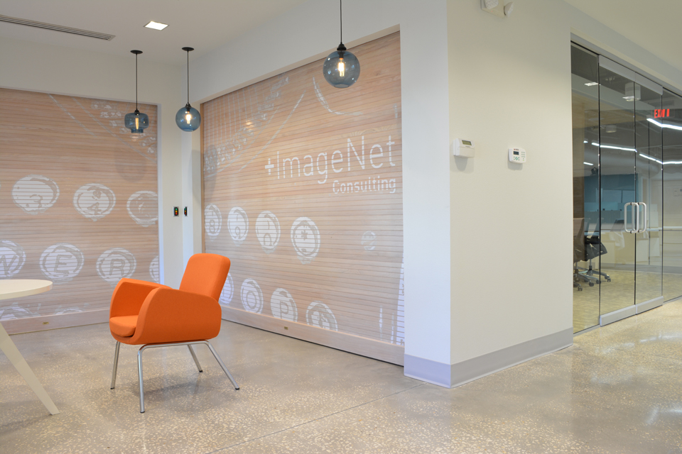Lobby showroom modern tech office design in Tampa Florida by Space as Art