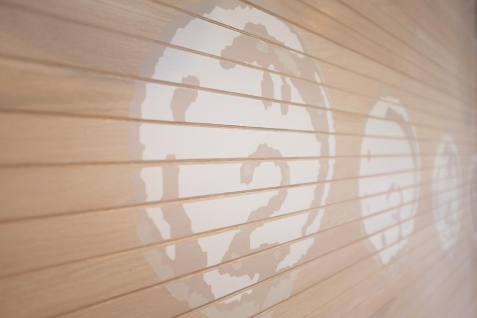 Custom mural on wood door by Space as Art