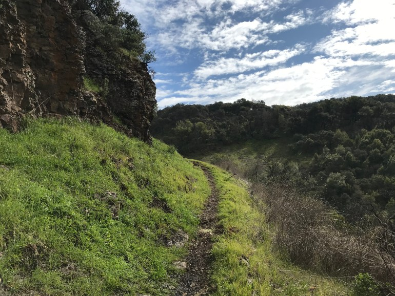A thin trail cuts through a green hillside, with white puffy clouds floating in a bright blue sky