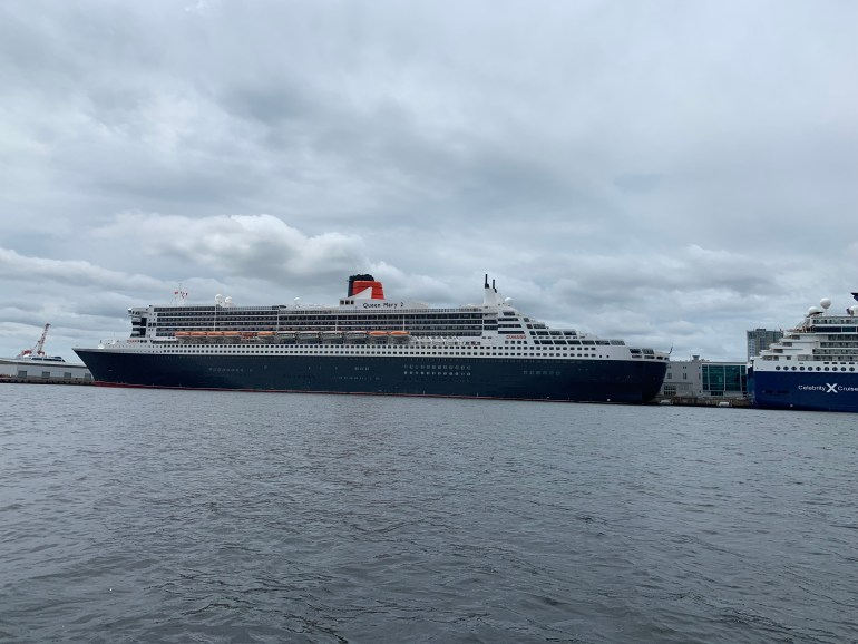 The Queen Mary 2 cruise ship at port