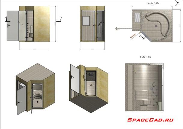 3D моделирование и визуализация душевой кабинки 2