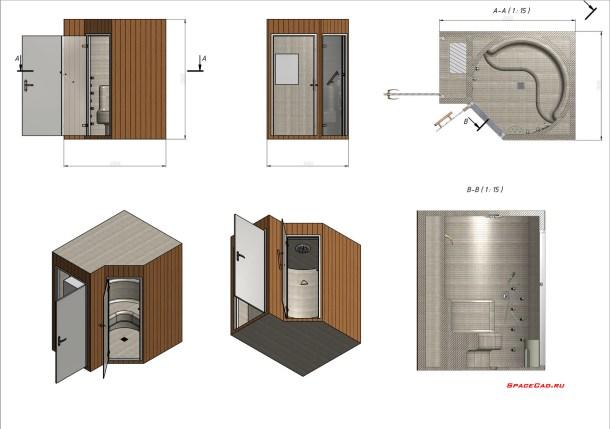 3D моделирование и визуализация душевой кабинки
