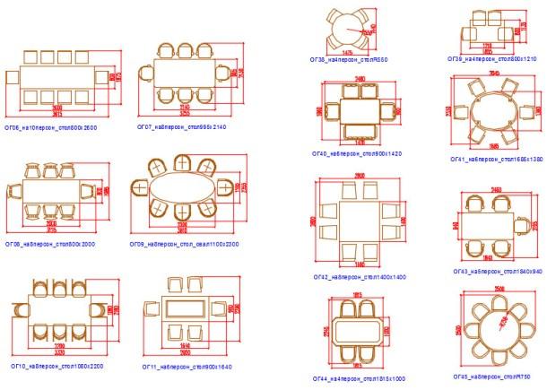 Блоки Автокад обеденные столы