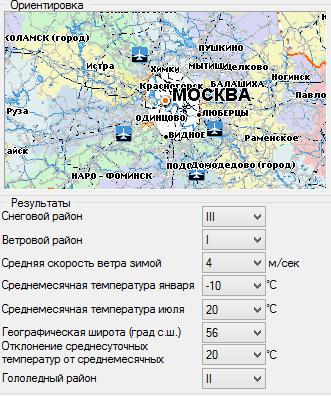 Основные климатические показатели района строительства.