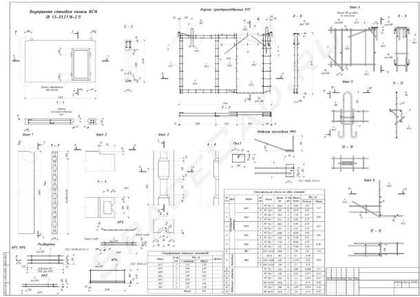Внутренняя стеновая панель ВС16 Чертеж