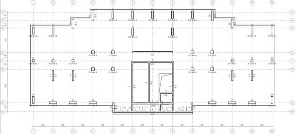 Схема расположения несущих элементов каркаса (Типовой этаж)