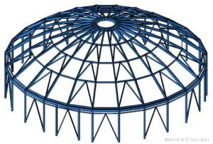 Расчет металлического ребристого купола в Лира САПР