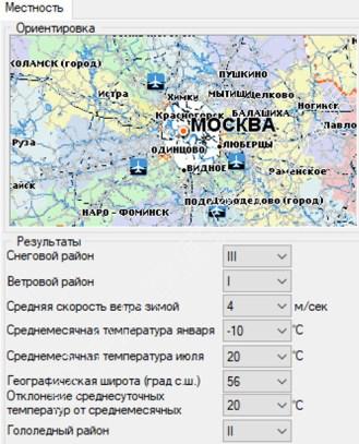 Основные климатические показатели района строительства г. Москва