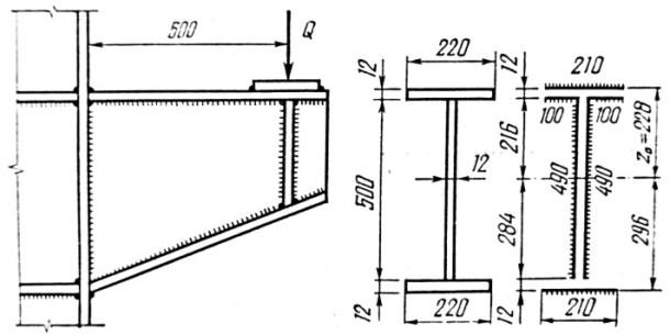Расчет крепления консоли к металлической колонне