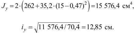 момент инерции сечения стержня колонны