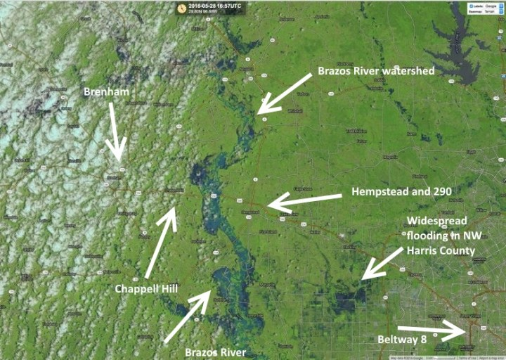 Annotated landsat image from May 28, 2016, shows the extent of Brazos River flooding. (CIMSS)