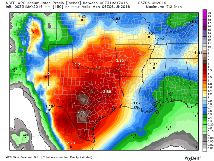 NOAA rain accumulation forecast for now through Sunday. (Weather Bell)