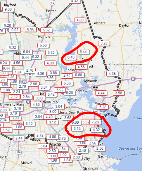 "Two day rain totals of 5-8"" in both Northeast and Southeast Harris County. (Harris County Flood Control)"