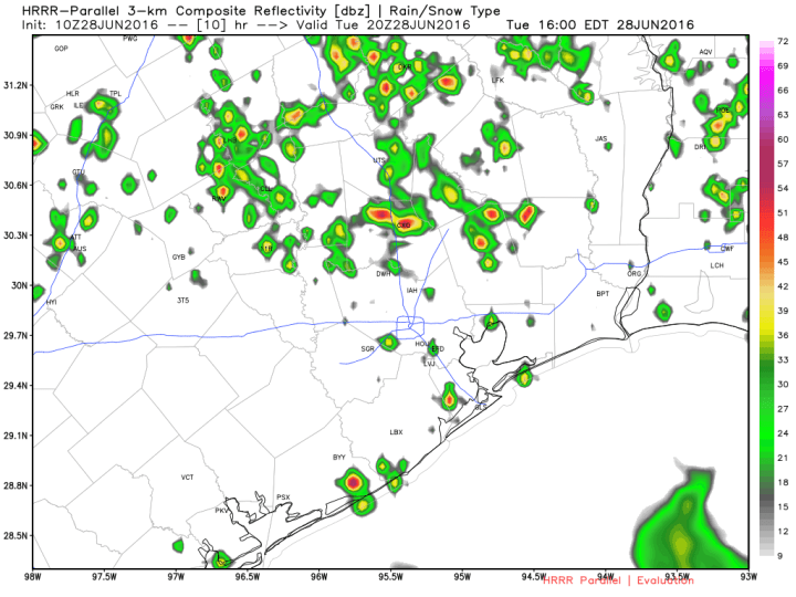 HRRR model forecast for rain at 3pm CT on Tuesday. (Weather Bell)
