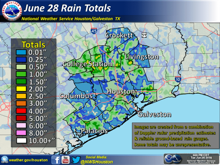 Rain totals for Tuesday. (National Weather Service)