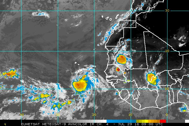 "Satellite picture of disturbance ""Invest 96L"" this morning. (NOAA)"