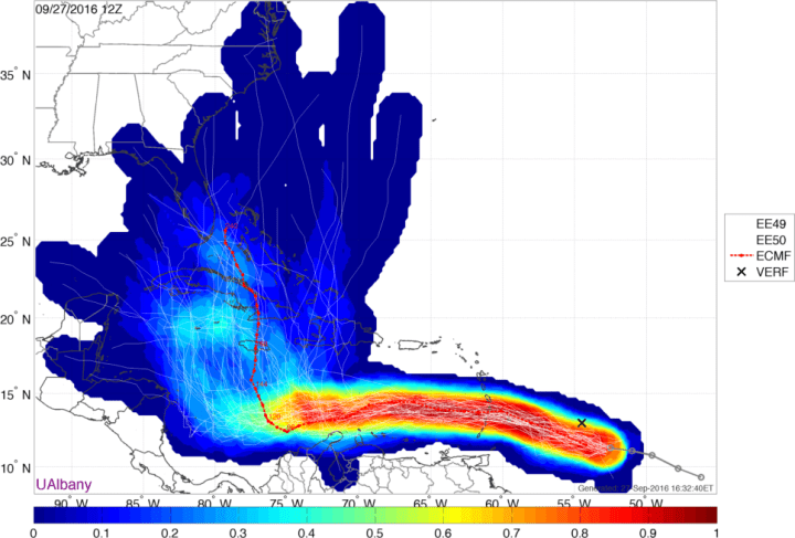 Confidence in 97L's track is high over the next few days, then suddenly plummets. (Brian Tang/SUNY Albany)
