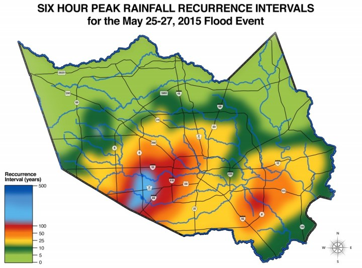 Recurrence intervals for six-hour rainfall totals. (HCFCD)