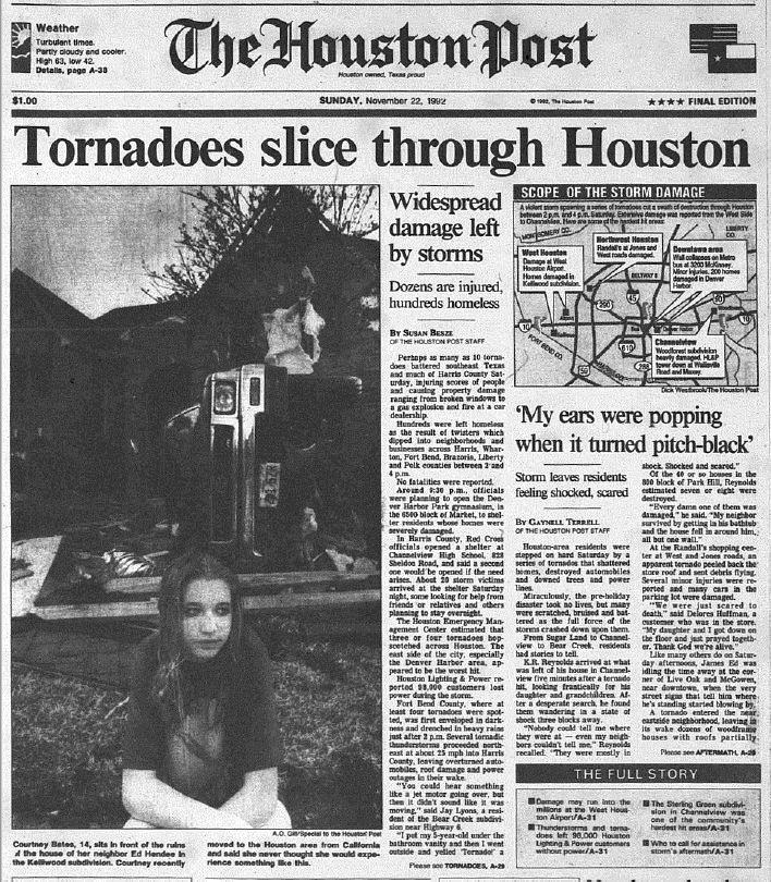 Front page of the Houston Post, the day after the outbreak, November 22, 1992. (Rice Fondren Library)