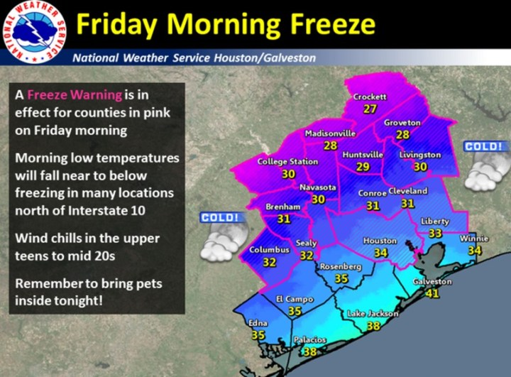 Friday morning's freeze possibilities. (National Weather Service)