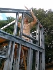 Getting the ridge beam in place was surprisingly easy. It does help to have two people and two ladders.