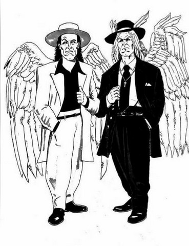 Angel Mobsters Character Drawings by Mick Trimble