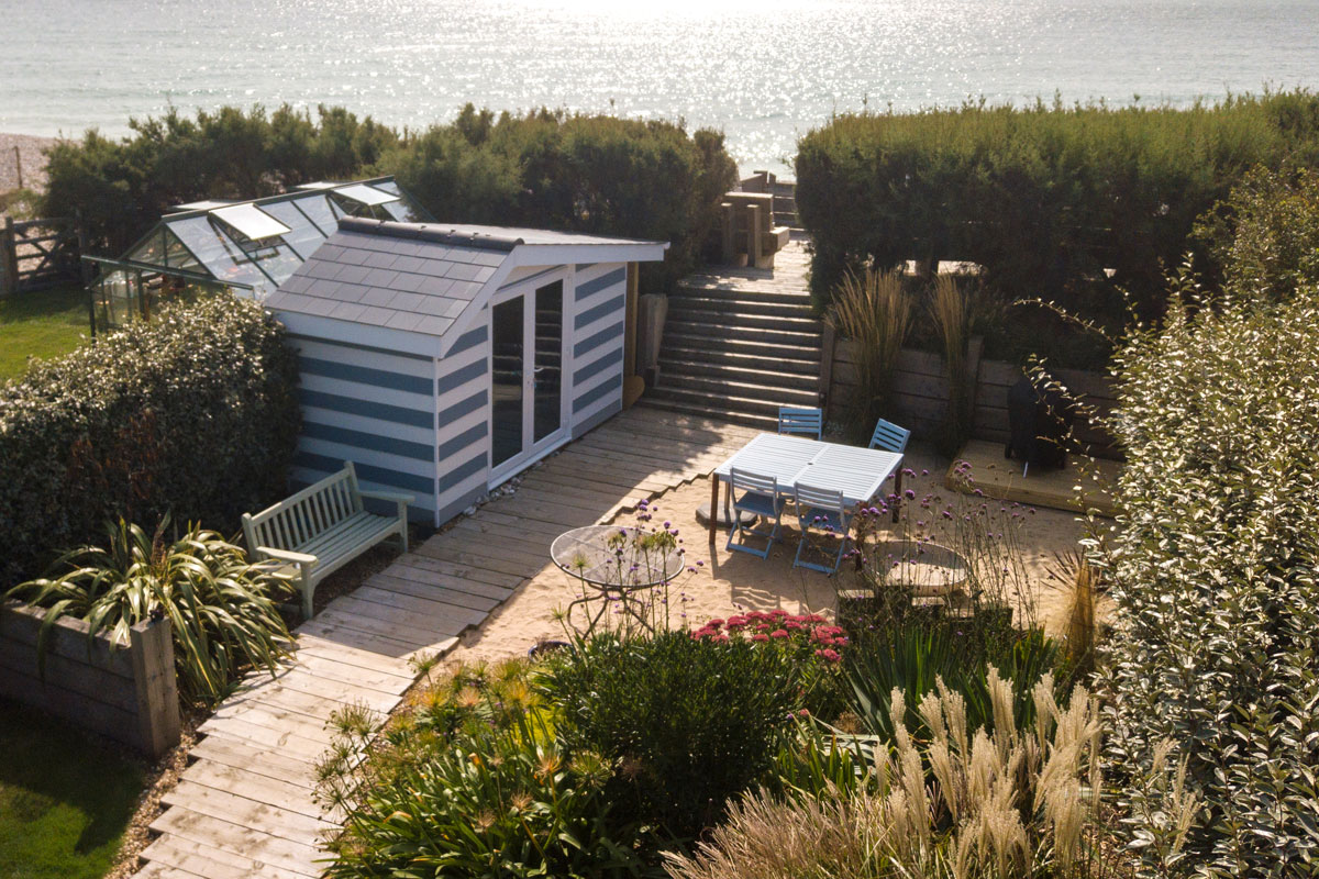 Beach Hut Garden Room Aerial Photo
